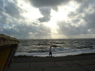 Sommerabend - Landschaft, Strand, Brandung, Nordsee, Flut, Sandstrand, Sonnenuntergang, Sylt, Meer, Wasser, Wolken