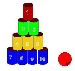 Dosenwerfen#2 - Dosen, werfen, zehn, Sport, Sportgeräte, spielen, Spiel, rund, nummeriert, Zylinder, Volumen, Oberfläche, Körper, Mathematik